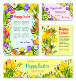 Easter banner template set with egg and flower. Happy Easter greeting banner template set. Easter egg and blooming spring flower of tulip, lily and narcissus Royalty Free Stock Images