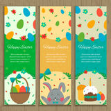 Easter Banner Templates. Vector. Easter Banner Templates with Rabbit and Easter Eggs. Vector illustration Royalty Free Stock Photos