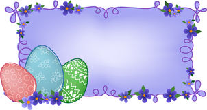 Easter banner with text field. Easter banner or greetings card with painted eggs, flowers and text field Royalty Free Stock Photo