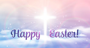 Free Easter Banner With Text  Happy Easter , Shining Cross And Heaven With White Clouds. Royalty Free Stock Image - 70694926