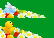 Easter banners. Vector of cute easter bunny, chicken  and easter eggs on  green grass with many spring flowers Stock Images