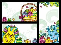 Easter banners 2. Set of Easter banners series 2. Flora and Fauna compositions, curly plants, painted Easter eggs, cute blue bunny, little girl, little chicken Royalty Free Stock Images