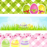 Easter banners. With decorated Easter eggs Stock Images