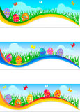 Easter banners with colorful Easter eggs vector illustration
