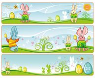 Easter Banners cute bunnies.  Royalty Free Stock Image