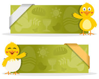 Easter Banners with Cute Chick. Two green Easter banners with a cute cartoon chick character smiling and greeting, Easter elements and a ribbon. Eps file Royalty Free Stock Photography