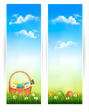Easter banners with Easter eggs in basket and flow Royalty Free Stock Images