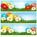Easter banners with Easter eggs and flowers Stock Photo