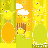 Easter banners with funny chickens Stock Photos