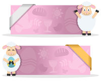 Easter Banners with Funny Lamb. Two pink Easter banners with a cute cartoon lamb character smiling and greeting, Easter elements and a ribbon. Eps file available Royalty Free Stock Images