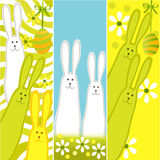 Easter banners with funny rabbits Royalty Free Stock Images