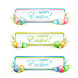 Easter banners with multicolored eggs Royalty Free Stock Photo