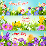 Easter banners paschal egg, flowers vector set Stock Image