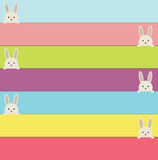 Easter banners with rabbit. Colorful banners with cute bunnies. Stock Photos