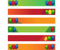 Easter banners. Six Easter banner with Easter eggs in green, orange, red vector illustration