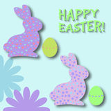 Easter bunny desing element. Happy easter day. Two cute cartoon easter bunny with dots and small hearts texture.Vector illustration. Use for icons, banners Royalty Free Stock Photos