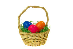 Easter basket. With colored easter eggs Stock Image