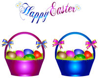 Easter basket. Illustration of easter baskets with easter eggs Stock Images