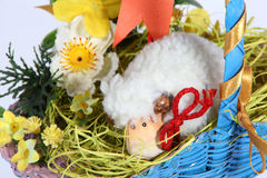 Easter Basket. Detail of basket with Easter decoration isolated on white Stock Photos