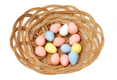 Easter basket. With coated eggs Stock Image