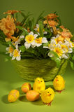 Easter basket. With birds and eggs on green background Stock Photo