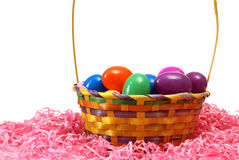 Easter Basket. A Easter basket filled with eggs on some pink paper shreds Royalty Free Stock Photography