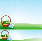 Easter basket. Vector of Easter basket with easter eggs and easter bunny on  green background Stock Image