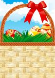 Easter basket. Vector Background of Easter basket with color eggs and copy space for your text Stock Photo