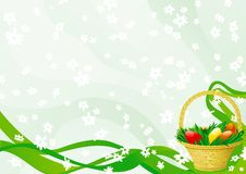 Easter basket. On abstract green background with white flowers Royalty Free Stock Image