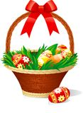 Easter basket. With color eggs on green grass  on white background Stock Images