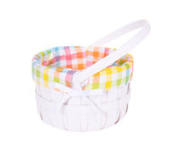 Easter Basket. Pastel colored lined white Easter Basket, isolated on a white background Royalty Free Stock Photo