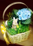 Easter basket. With decorated eggs and the Easter bunny Royalty Free Stock Photos