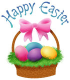 Easter Basket. Illustration of an Easter basket with dyed eggs topped with the words Happy Easter