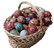 Easter Basket. With painted eggs stock photos