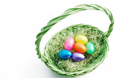 Easter basket. With colored eggs Stock Photo