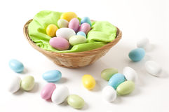 Easter, basket with almonds Stock Images