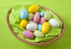 Easter, basket with almonds Royalty Free Stock Images