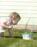 Easter Basket Annie. Child with easter basket Royalty Free Stock Image