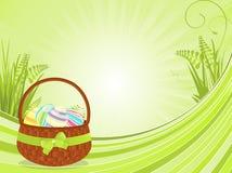 Easter basket background Stock Photo