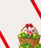 Easter Basket on a beige background Stock Image