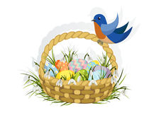 Easter basket with blue bird Stock Photography