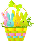 Easter basket with bunnies Stock Photo