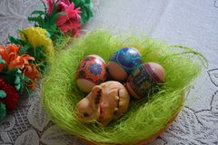 Easter basket. Bunny with eggs Royalty Free Stock Photography