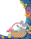 Easter basket, bunny, flowers Royalty Free Stock Image