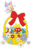 Easter basket and butterfly Stock Images