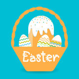 Easter Basket Cake Decorated Eggs Set Traditional Food Happy Holiday Greeting Card Royalty Free Stock Images