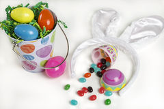 Easter basket with candy Royalty Free Stock Photography