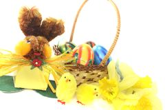 Easter Basket with chick and bunny. On a light background Stock Photography