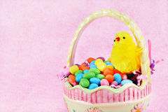 Easter basket, chick and jelly beans Royalty Free Stock Images