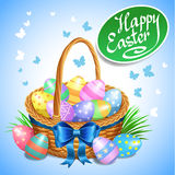 Easter basket with color painted easter eggs. Easter eggs Royalty Free Stock Photography